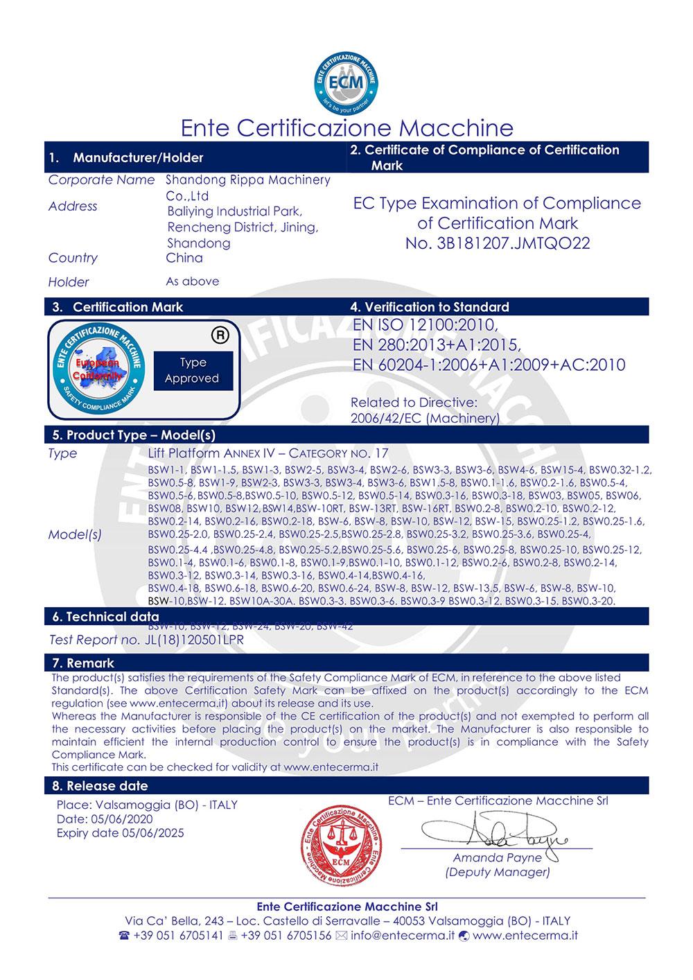 Ente certificazione macchine-Rippa China